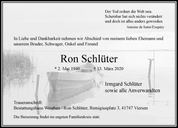 Traueranzeige von Ron Schlüter von Rheinische Post