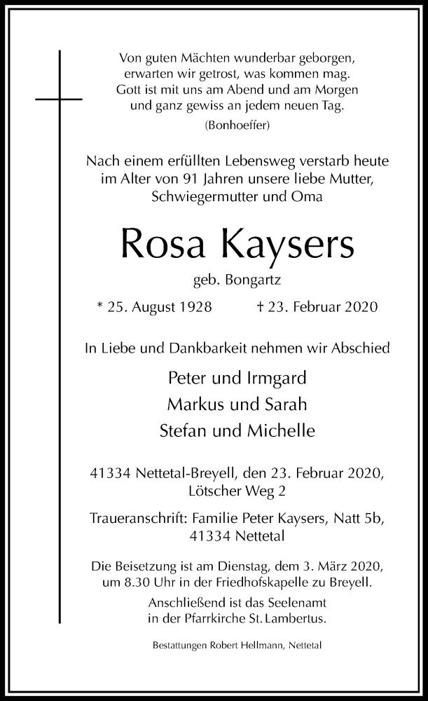 Anzeige von  Rosa Kaysers