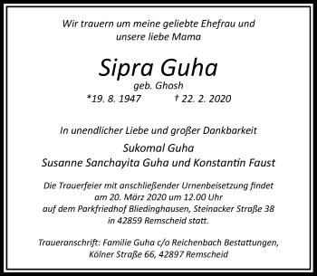Traueranzeige von Sipra Guha von Rheinische Post