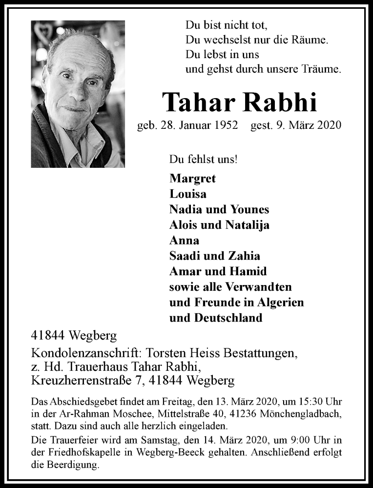 Anzeige von  Tahar Rabhi