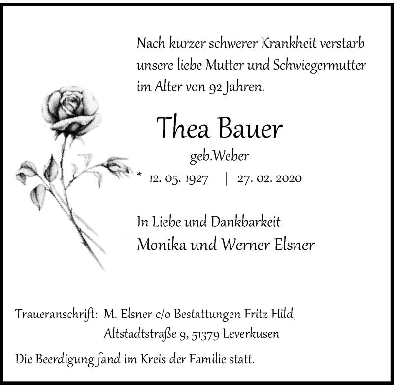 Anzeige von  Thea Bauer