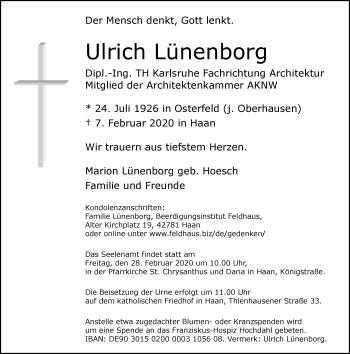 Traueranzeige von Ulrich Lünenborg von Rheinische Post