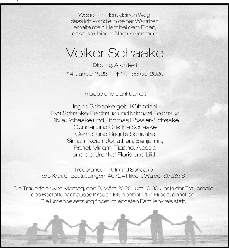 Anzeige von  Volker Schaake