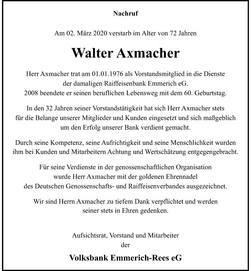 Anzeige von  Walter Axmacher