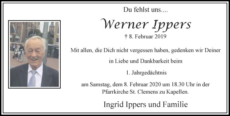 Anzeige von  Werner Ippers
