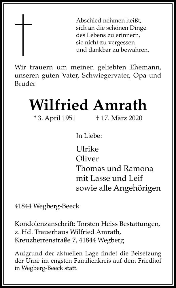Traueranzeige für Wilfried Amrath vom 28.03.2020 aus Rheinische Post