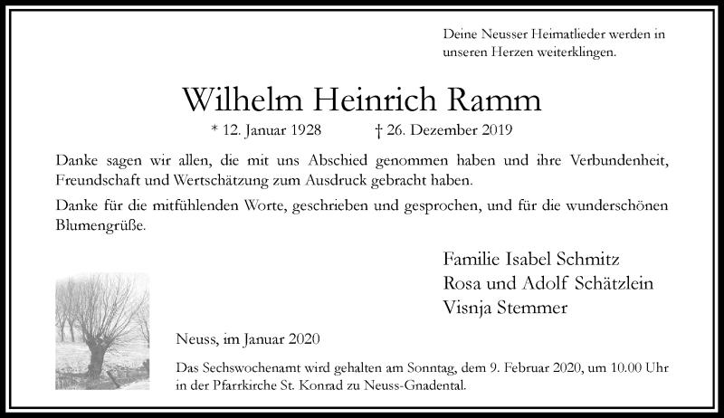 Traueranzeige für Wilhelm Heinrich Ramm vom 01.02.2020 aus Rheinische Post