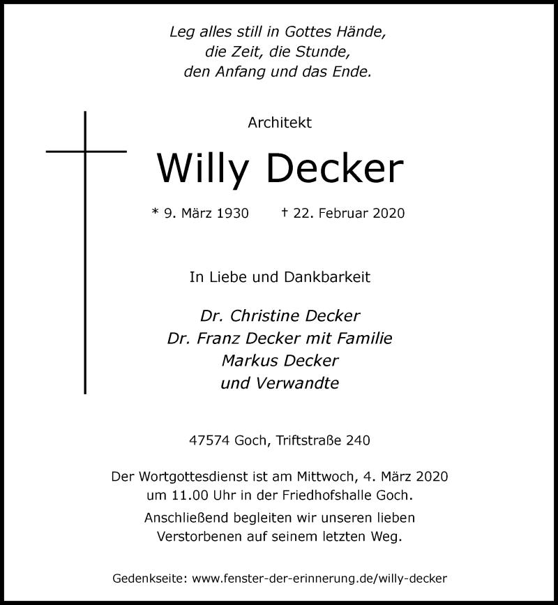 Anzeige von  Willy Decker