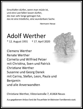 Traueranzeige von Adolf Werther von Rheinische Post
