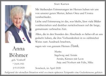 Traueranzeige von Anna Böhmer von Rheinische Post