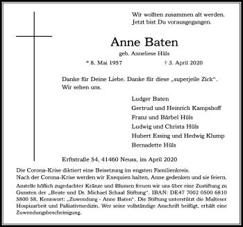 Traueranzeige von Anne Baten von Rheinische Post
