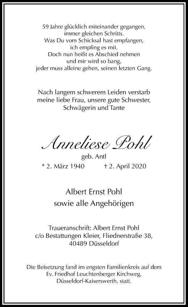 Traueranzeige für Anneliese Pohl vom 25.04.2020 aus Rheinische Post
