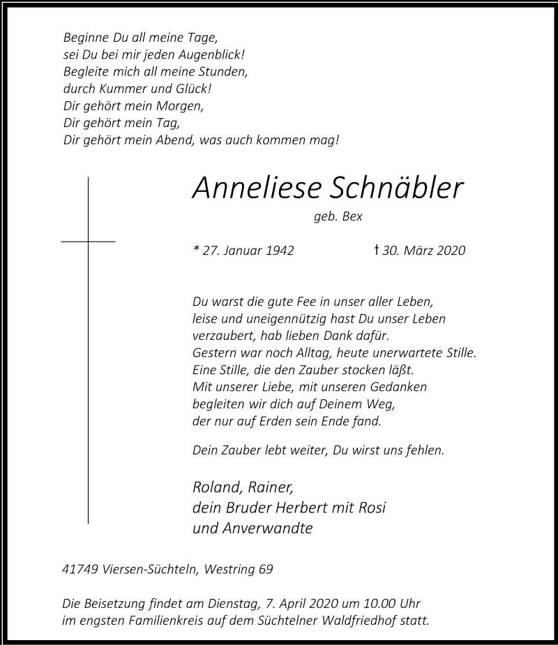 Traueranzeige für Anneliese Schnäbler vom 04.04.2020 aus Rheinische Post