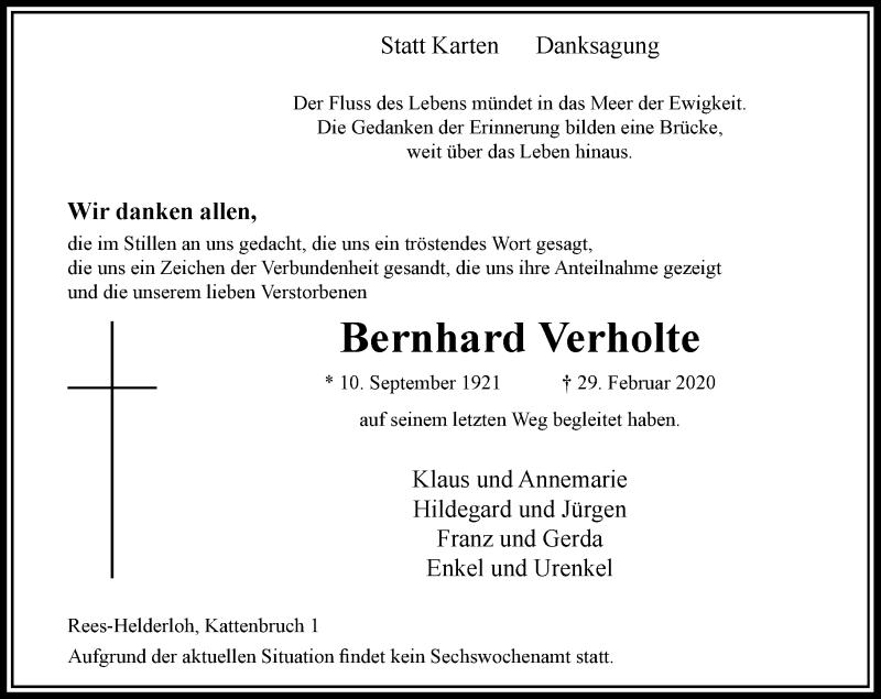 Anzeige von  Bernhard Verholte
