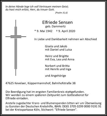 Traueranzeige von Elfriede Sensen von Rheinische Post