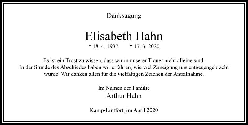 Anzeige von  Elisabeth Hahn