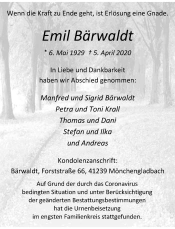Traueranzeige von Emil Bärwaldt von Rheinische Post