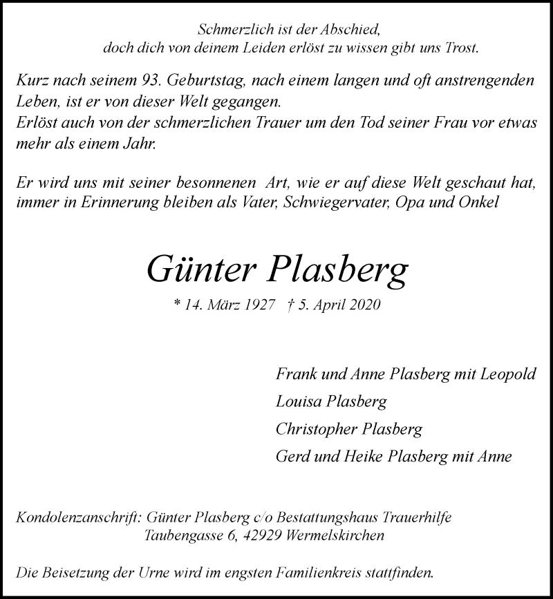 Anzeige von  Günter Plasberg