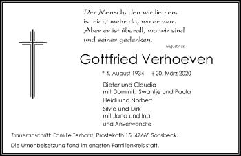 Traueranzeige von Gottfried Verhoeven von Rheinische Post