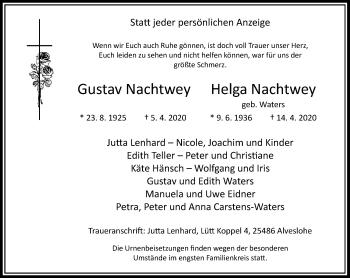 Traueranzeige von Gustav und Helga Nachtwey von Rheinische Post