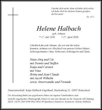 Traueranzeige von Helene Halbach von Rheinische Post