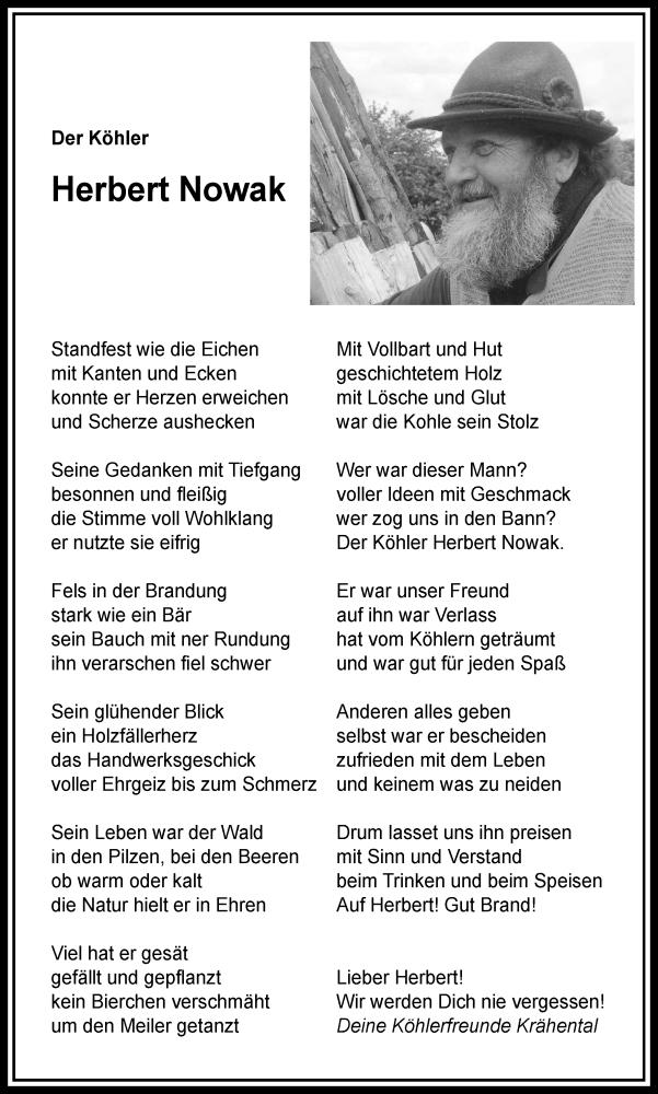 Traueranzeige für Herbert Nowak vom 30.04.2020 aus Rheinische Post