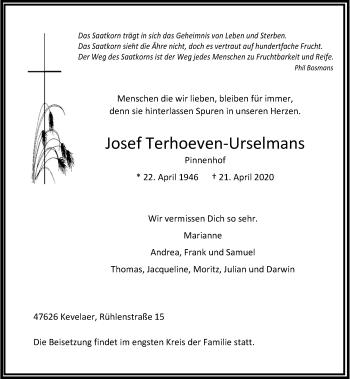 Traueranzeige von Josef Terhoeven-Urselmans von Rheinische Post