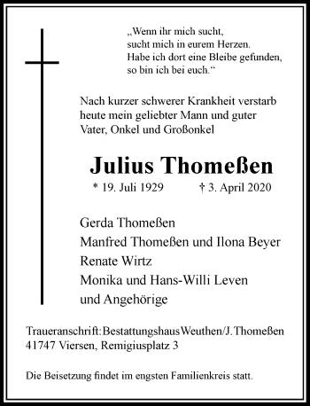 Traueranzeige von Julius Thomeßen von Rheinische Post