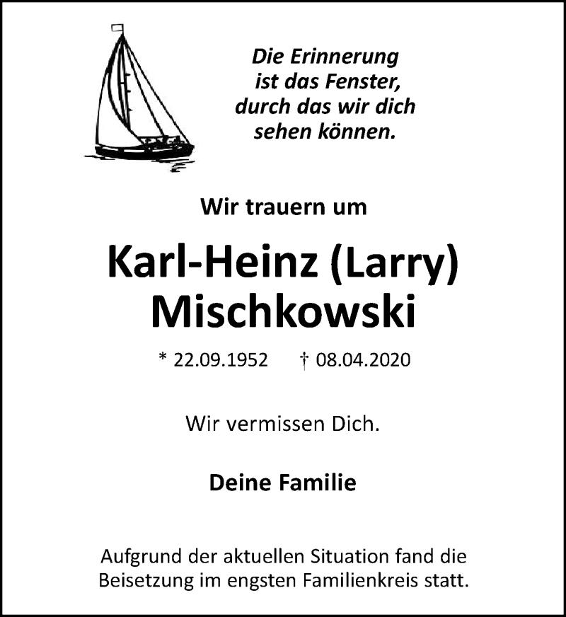 Anzeige von  Karl-Heinz Mischkowski