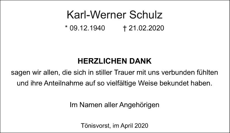 Anzeige von  Karl-Werner Schulz