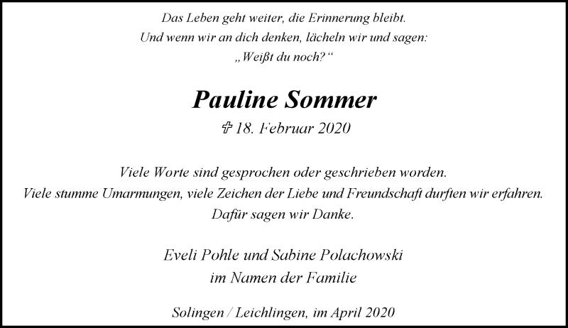 Anzeige von  Pauline Sommer