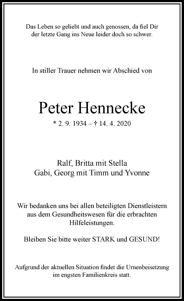 Traueranzeige für Peter Hennecke vom 18.04.2020 aus Rheinische Post