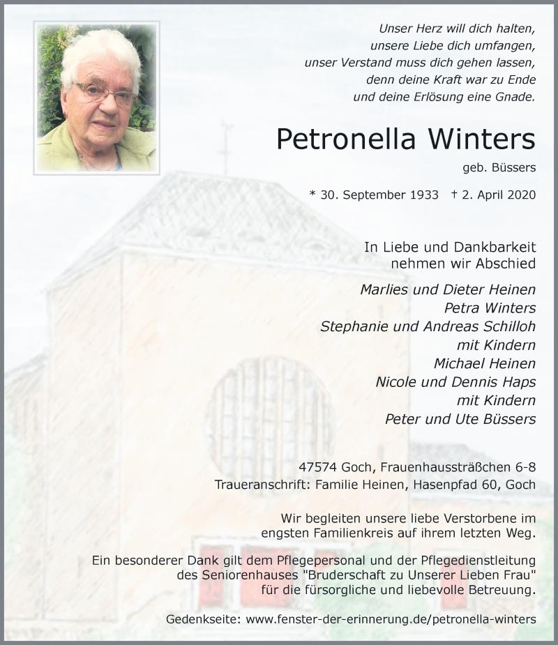 Traueranzeige für Petronella Winters vom 06.04.2020 aus Rheinische Post