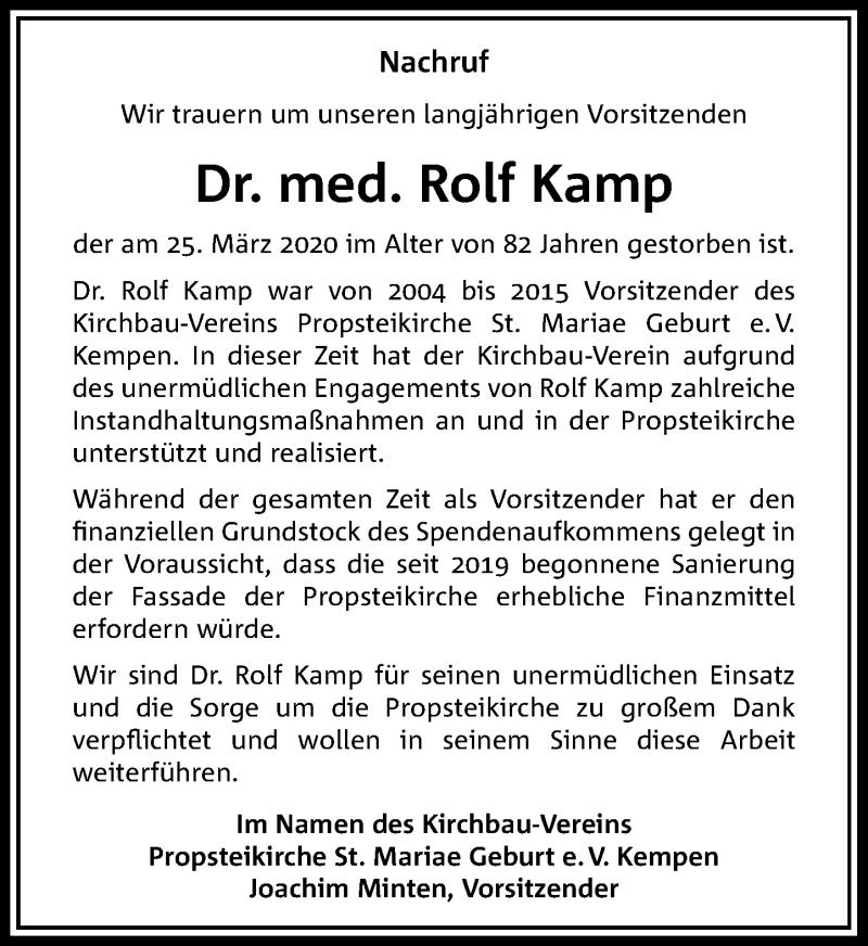 Traueranzeige für Rolf Kamp vom 04.04.2020 aus Rheinische Post
