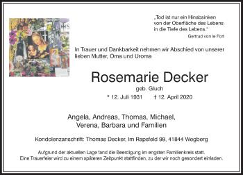 Traueranzeige von Rosemarie Decker von Rheinische Post