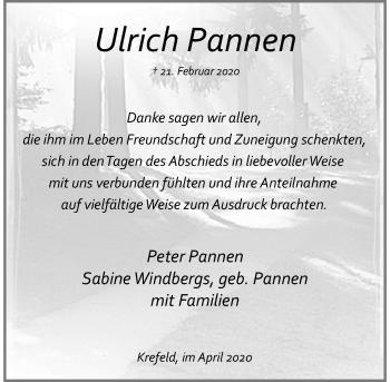 Traueranzeige von Ulrich Pannen von Rheinische Post