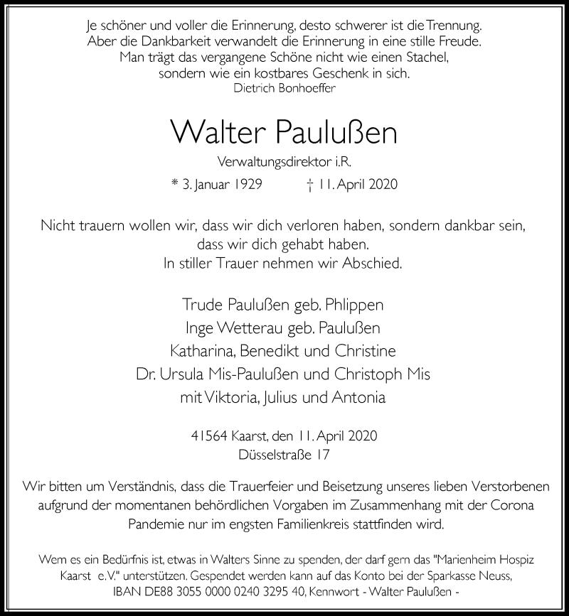 Traueranzeige für Walter Paulußen vom 15.04.2020 aus Rheinische Post