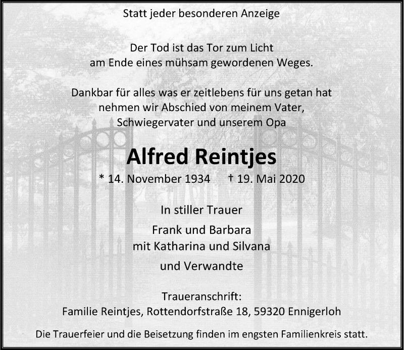 Traueranzeige für Alfred Reintjes vom 23.05.2020 aus Rheinische Post