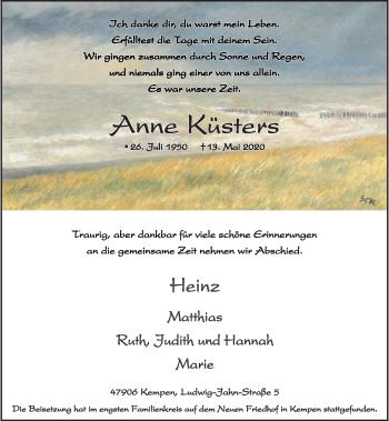 Traueranzeige von Anne Küsters von Rheinische Post