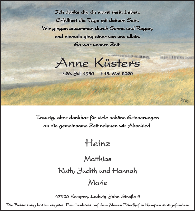 Traueranzeige für Anne Küsters vom 23.05.2020 aus Rheinische Post