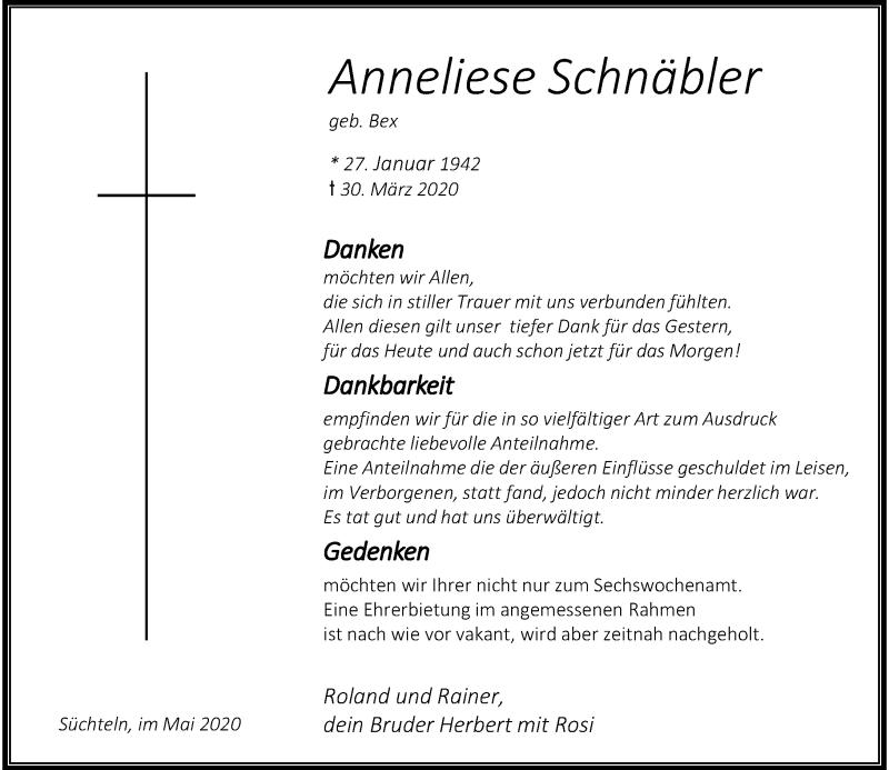 Traueranzeige für Anneliese Schnäbler vom 09.05.2020 aus Rheinische Post