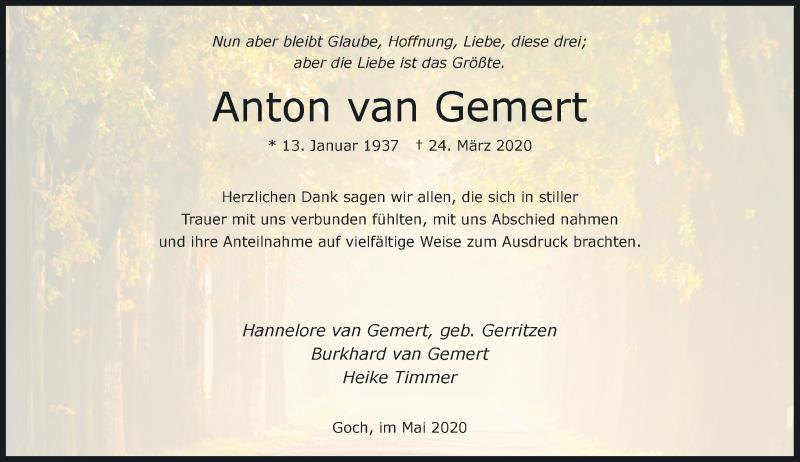 Anzeige von  Anton van Gemert