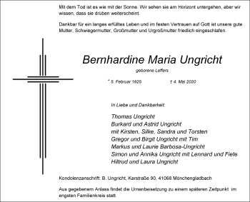 Traueranzeige von Bernhardine Maria Ungricht von Rheinische Post
