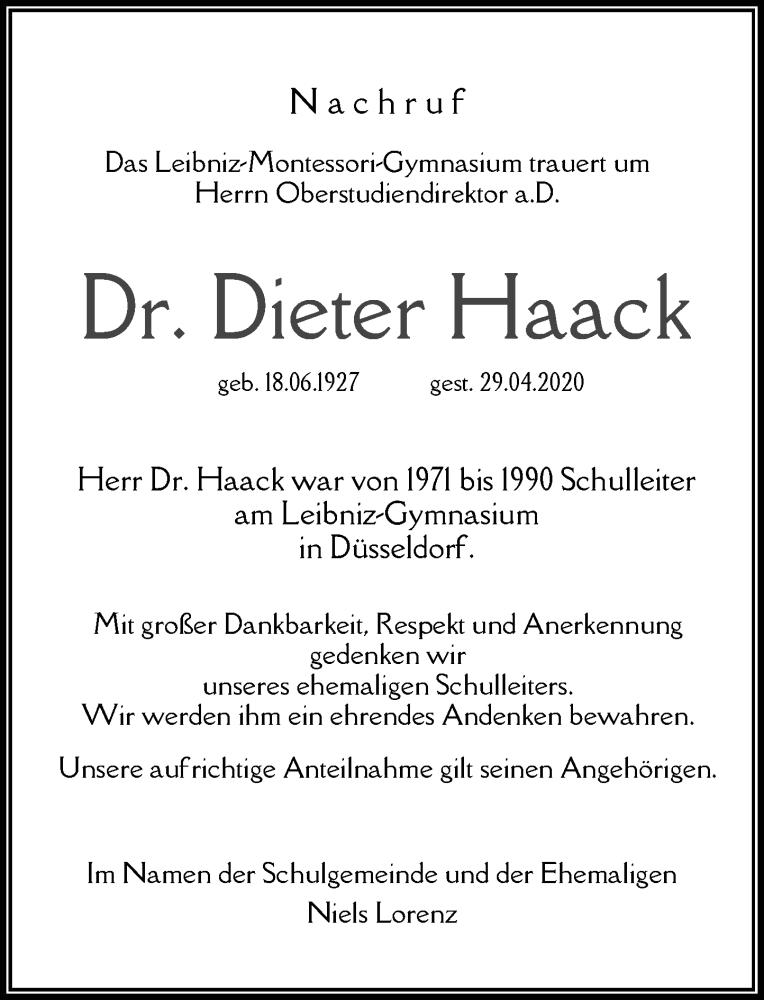 Traueranzeige für Dieter Haack vom 16.05.2020 aus Rheinische Post