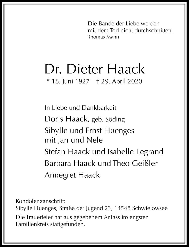 Traueranzeige für Dieter Haack vom 09.05.2020 aus Rheinische Post