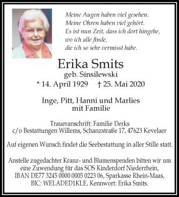 Traueranzeige von Erika Smits von Rheinische Post
