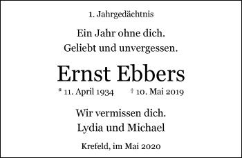 Traueranzeige von Ernst Ebbers von Rheinische Post