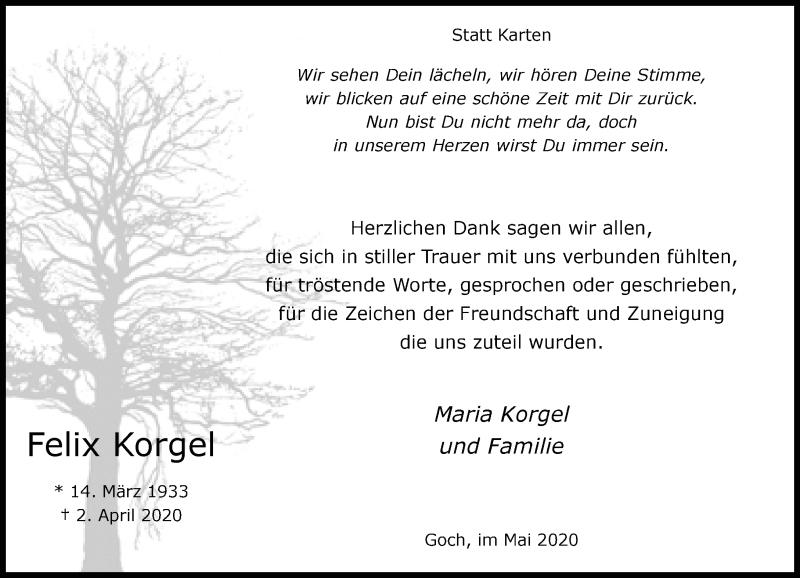 Traueranzeige für Felix Korgel vom 23.05.2020 aus Rheinische Post