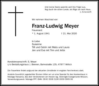 Traueranzeige von Franz-Ludwig Meyer von Rheinische Post