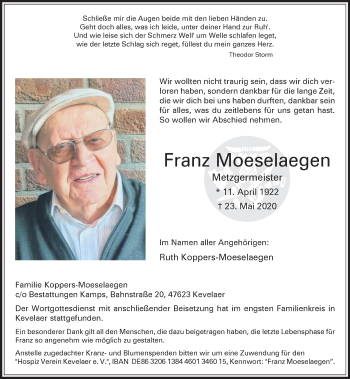 Traueranzeige von Franz Moeselaegen von Rheinische Post